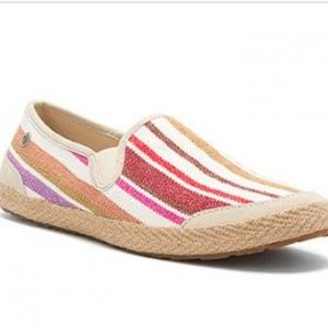 UGG DELIZAH CREAM STRIPE CANVAS LOAFER